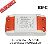 NEW! LED Driver Transformer 240V - 12V with Terminal Blocks, 0.5 to 12W / 240v AC to 12v DC-AC / ZERO Interference with Dab and Wifi