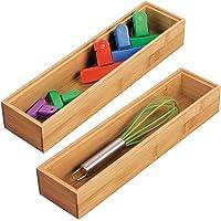 mDesign 2er-Set Schubladeneinsatz für die Küche – modularer Besteckkasten für Silberbesteck und mehr – Organizer aus Bambus für die Schublade – hellbraun