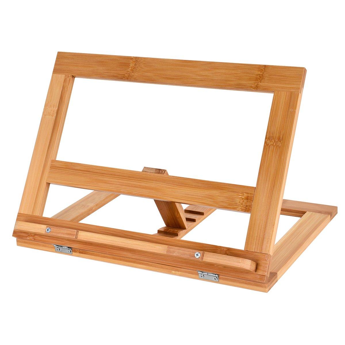 Tgg Premium Bamboo Book Stand, Natural Wooden Book Holder,Foldable Adjustable bookrest, Multipurpose Portable bookstands for Cookbook, Music Book, iPad.