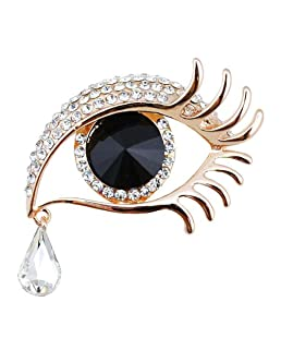 Dylandy Brooches Women Brooch Pins Vintage Crystal Brooch Buckle Angel's Tears Brooches For Wedding Party Christmas Decoration Gifts (Golden Edge+Black Eye)