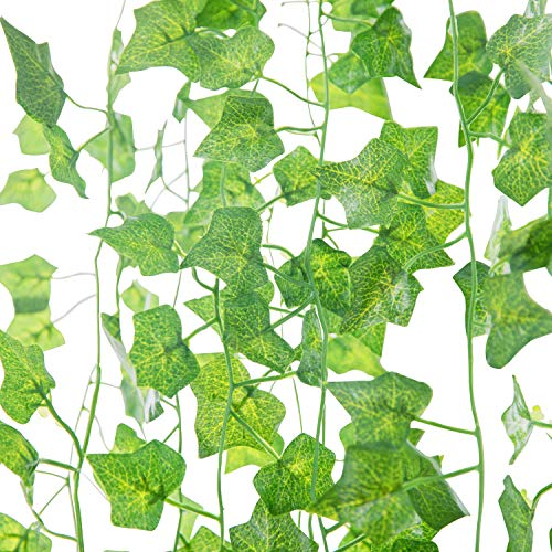 Wall Face Leaf - Naidiler 84 Ft 12 Strands Fake Ivy Leaves Artificial Ivy Garland Greenery Decor Faux Green Hanging Plant Vine for Wall Party Wedding Room Home Kitchen Indoor & Outdoor Decoration