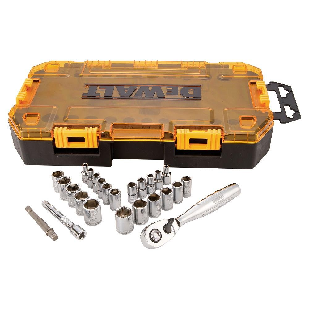 DEWALT Drive Socket Set, SAE/Metric, 1/4-Inch Drive, 25-Piece (DWMT73805) by DEWALT