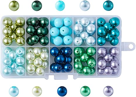 1Box Mixed Pearlized Round Glass Pearl Beads Necklace Jewelry Making Mixed Color