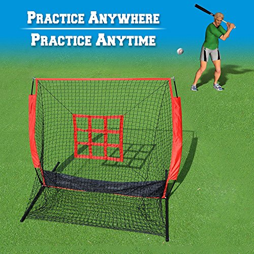 BenefitUSA Baseball & Softball Practice Net With Strike Target Zone Target & Carry Bag (5'x5') by BenefitUSA