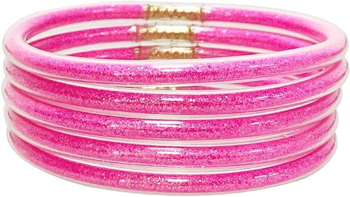 Gold Powder Lining Fashion Jewelry Glitter Jelly Bangle Bracelet Set  Lightweight Cute Bracelets for Women Girl Jewelry Bracelets