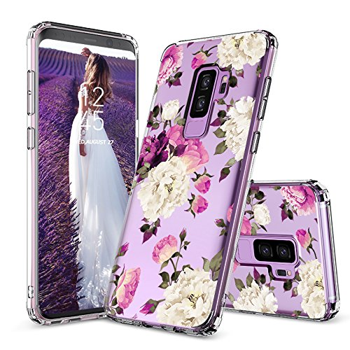 Galaxy S9 Plus Case, Galaxy S9 Plus Cover, MOSNOVO Peony Floral Flower Blossom Pattern Printed Clear Design Hard Back Case with TPU Bumper Case Cover for Samsung Galaxy S9 Plus
