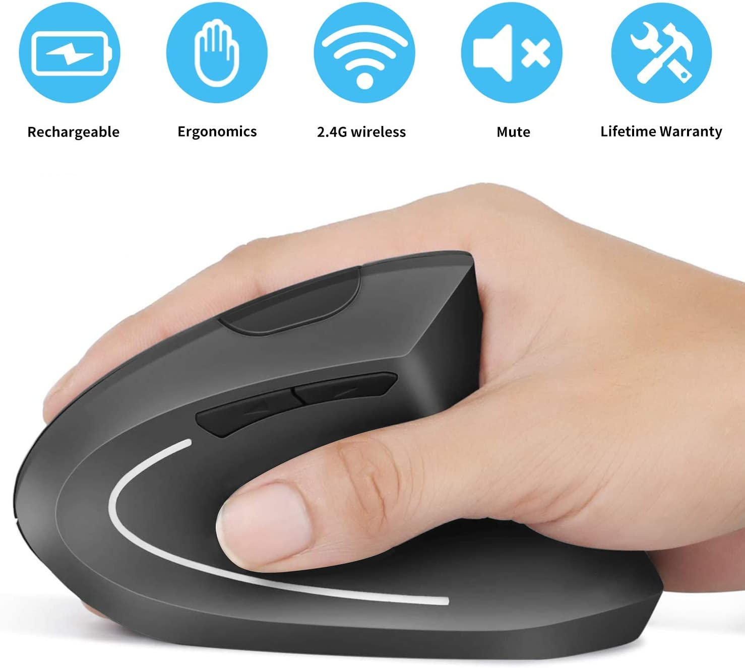 Rechargeable Ergonomic Mouse, Vertical Wireless Mouse, 2.4G Vertical Optical Mouse, Adjustable DPI 800/1200 /1600, 6 Buttons, for Laptop, PC, Computer, Desktop, Notebook etc, MacBook - Gray