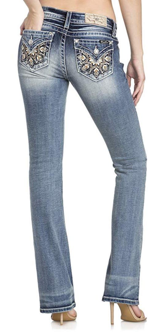 Miss Me Flower Embellished Pocket Medium Wash Mid-Rise Boot Cut Women's Jeans M3209B2, 30