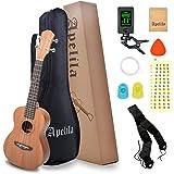 "Apelila 23"" Concert Ukulele,Mahogany Acoustic Mini Guitar Musical Instrument with Tuner,Bag, Pick, Nylon Strings, for Beginne"