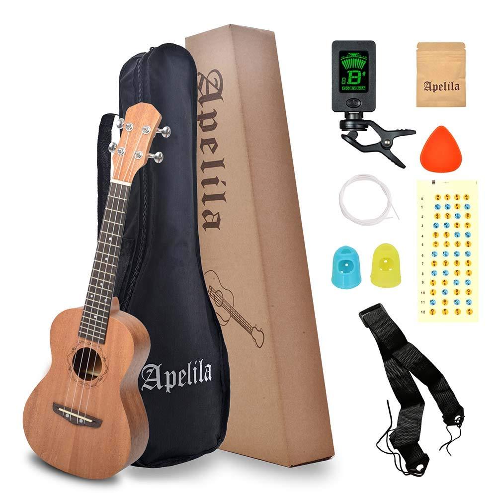 "Apelila 23"" Concert Ukulele,Mahogany Acoustic Mini Guitar Musical Instrument with Tuner,Bag, Pick, Nylon Strings, for Beginner, Kid, Starter, Amateur (Natural)"