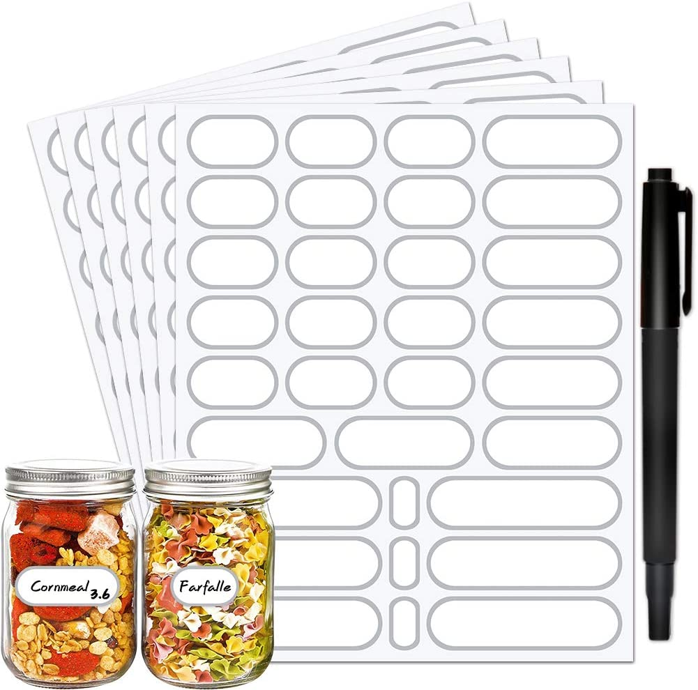 JaoNanl Spice Labels Stickers,Waterproof Pantry Labels for Mason Jars,Food Containers,Spice Jars,Storage Bins,Bottles,Kitchen Labels with Marker Pen,4 Sizes,Pack of 192(Silver)