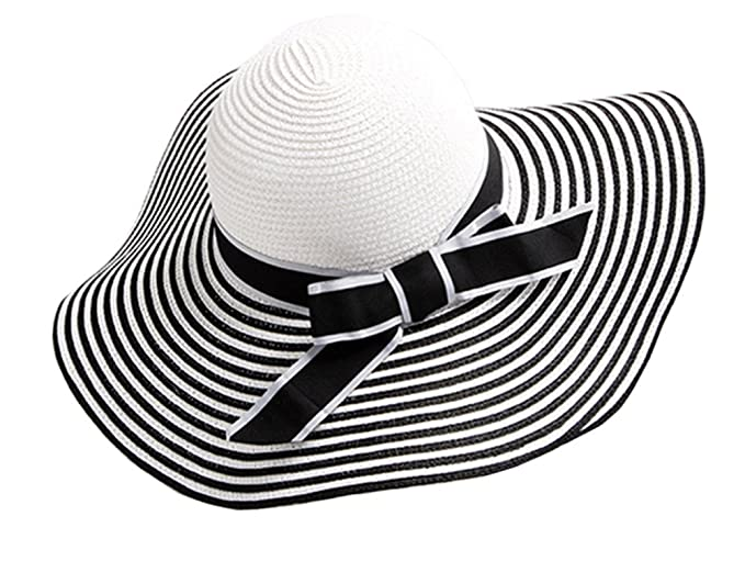 9988bf4cbc94a Women s Beachwear Sun Hat Striped Straw Hat Floppy Foldable Big Brim Hat  Cap (B-