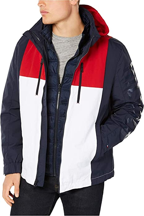 Tommy Hilfiger Big /& Tall Men/'s Gray Fleece Lined Full Zip Hoodie