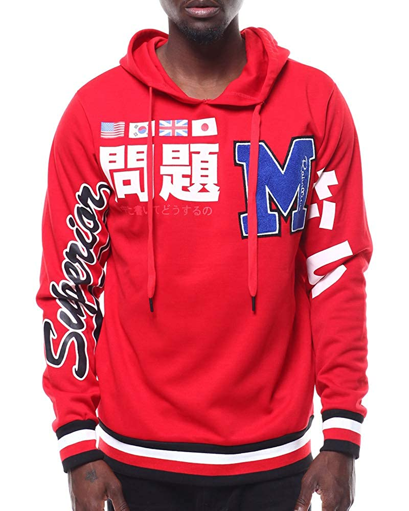 REBELLION Brand Mens Street Inspired Hip Hop Premium Tee Pullover Fashion Hooded W//Chenil Patch