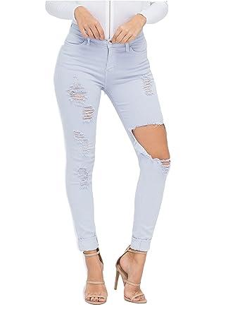 994a80b7890 Vibrant Shopglamla Distressed Skinny Jeans at Amazon Women s Jeans store