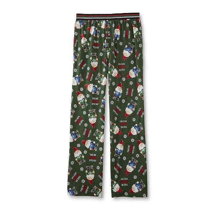 Secret Santa Mens Christmas Holiday Lounge Wear Cotton Pajama Pants (Green  Gnome 39165e93b