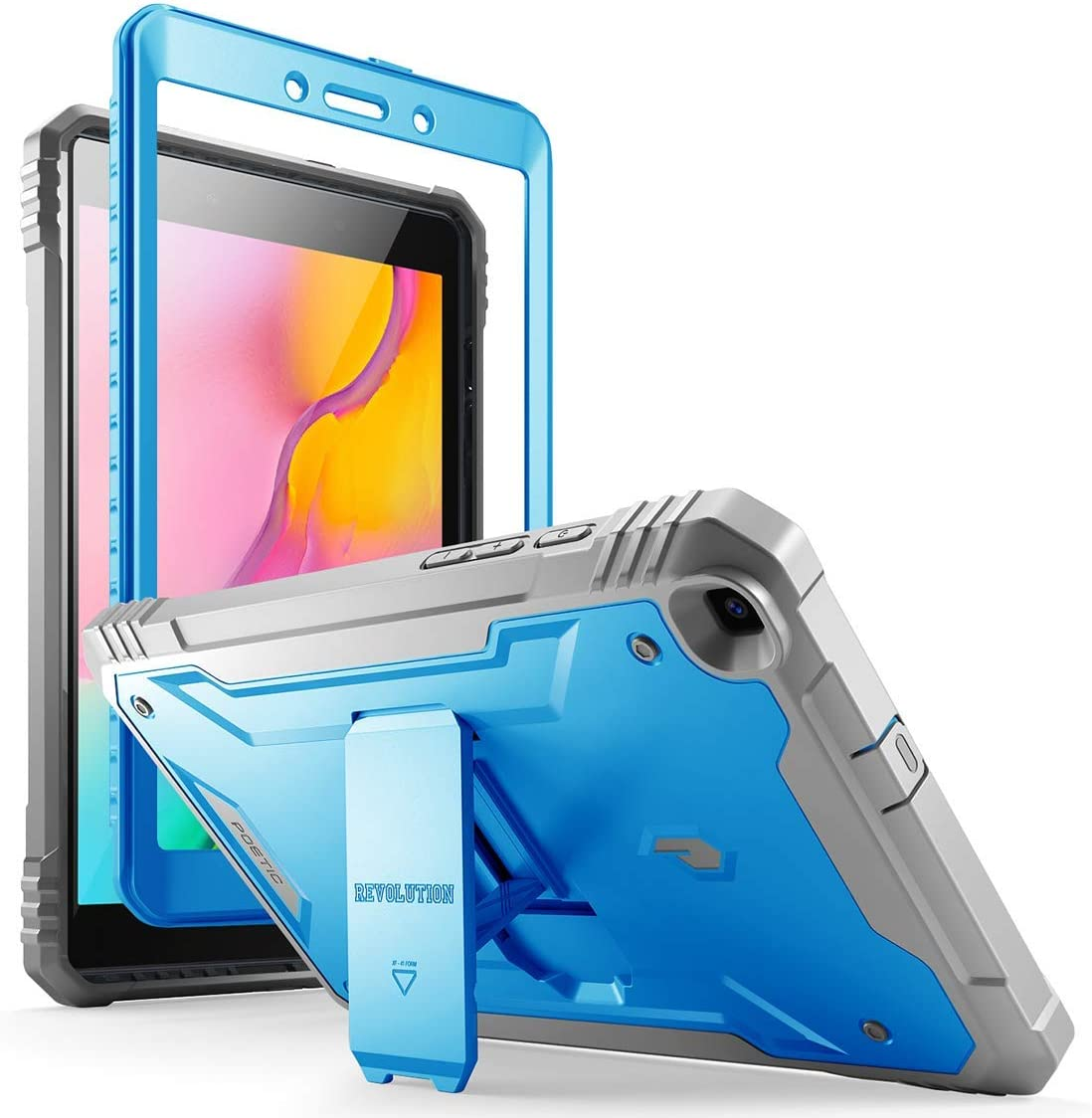 Galaxy Tab A 8.0 2019 Rugged Case with Kickstand,SM-T290 SM-T295, Poetic Full Body Shockproof Cover, Built-in-Screen Protector, Revolution, for Samsung Galaxy Tab A Tablet 8.0 Inch (2019), Blue/Gray
