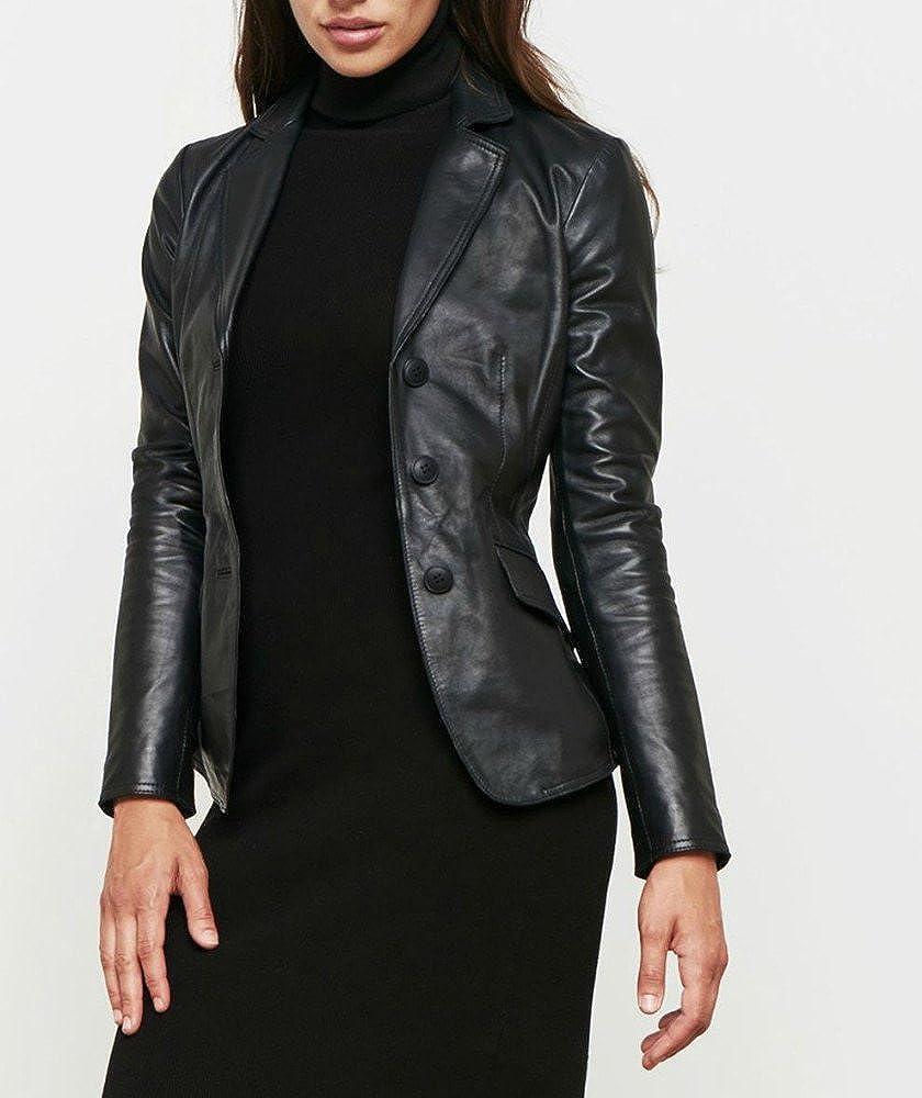 Women's Leather Jacket Black Slim fit Biker genuine lambskin jacket ( 36 )