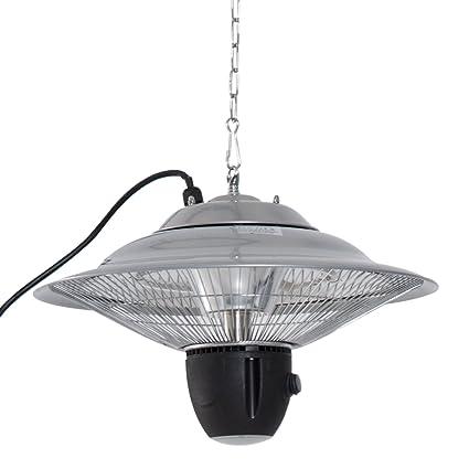 Outsunny – Techo Estufa Calentador 1500 W con LED Incluye Mando a Distancia Terrazas Aluminio Plata