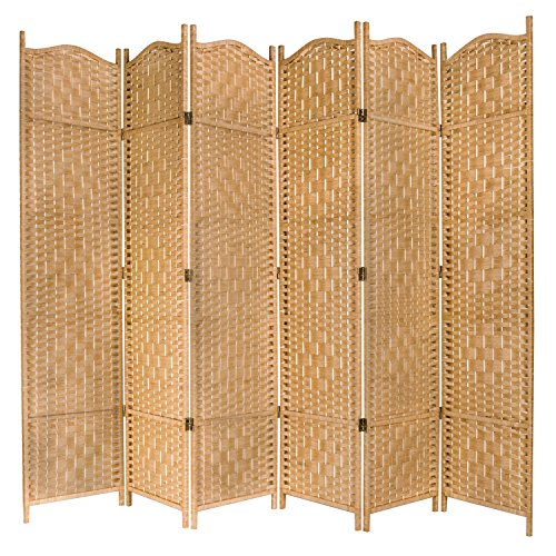 Woven Screen - MyGift Freestanding Bamboo Woven Textured 6-Panel Room Divider Folding Privacy Screen, Beige