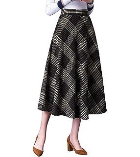 8d43a60fed897f Damen Vintage Elegante Gestreifter Plaid Wollrock - Elastische Taille a Linie  Herbst Winter Warm Röcke Mode
