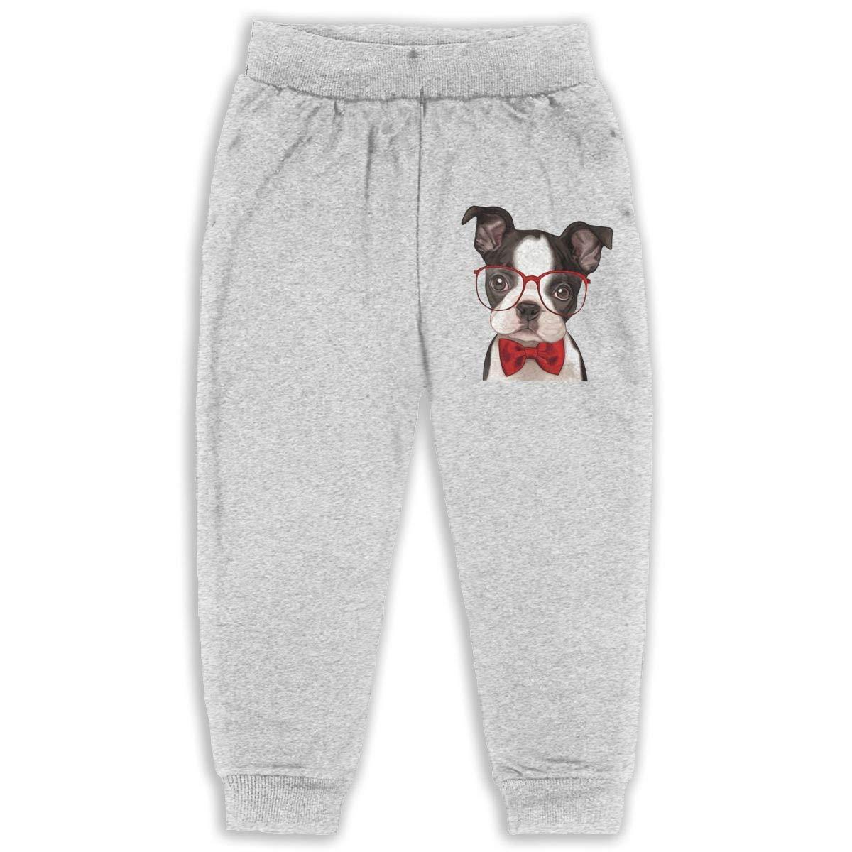 lu fangfangc Golden Water Cloud Up Boston Terrier Kids 2T-6T Unisex Active Basic Jogger Fleece Pants with Pocket Black