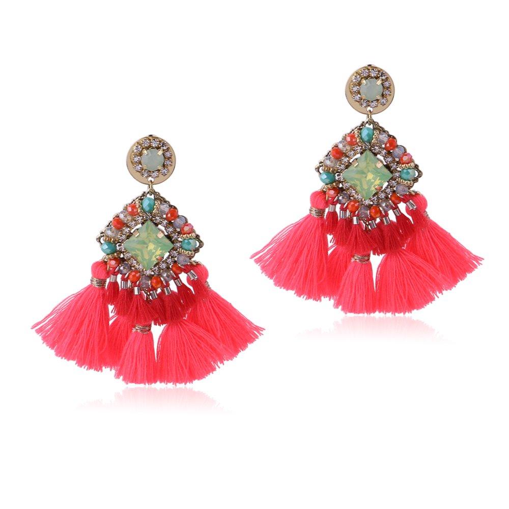 Crystal Beaded Women Tassel Earrings Vintage Dangle Statement Tassel Earrings (Fluorescent Pink)