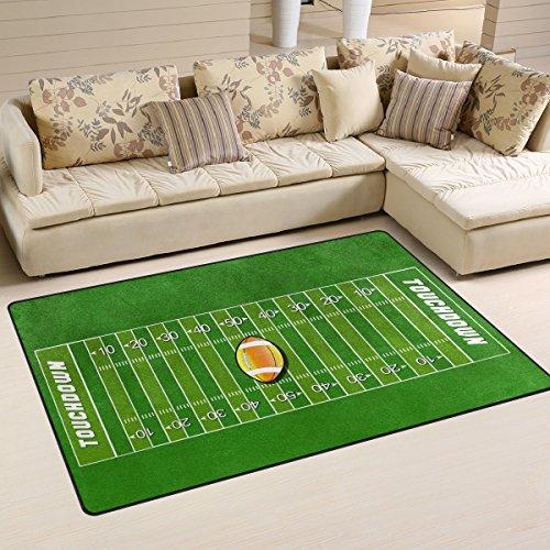 WOZO American Football Field Sport Green Grass Area Rug Rugs Non-Slip Floor Mat Doormats Living Room Bedroom 31 x 20 inches