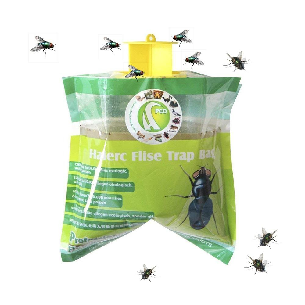Aolvo Fly Traps Bait Outdoor Disposable Fly Catcher with Attractant - Insect Bug Trap for Outdoor Garden Pest Control Hanging Bait Bag