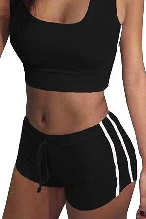 5e3b943d030b Tuesdays2 Womens Sexy Sports Yoga Crop Tank Top and Shorts 2 Piece Set (S,