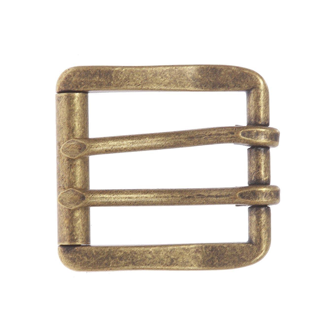 BBBelts Men Solid Brass 2 Prong Center Bar Square Roller Buckle For 1-1//2 Belts