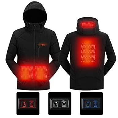 fec73d3b0dc SnowWolf Men Outdoor USB Heated Hooded Jacket Double Control Electric  Thermal Clothing Coat (Black