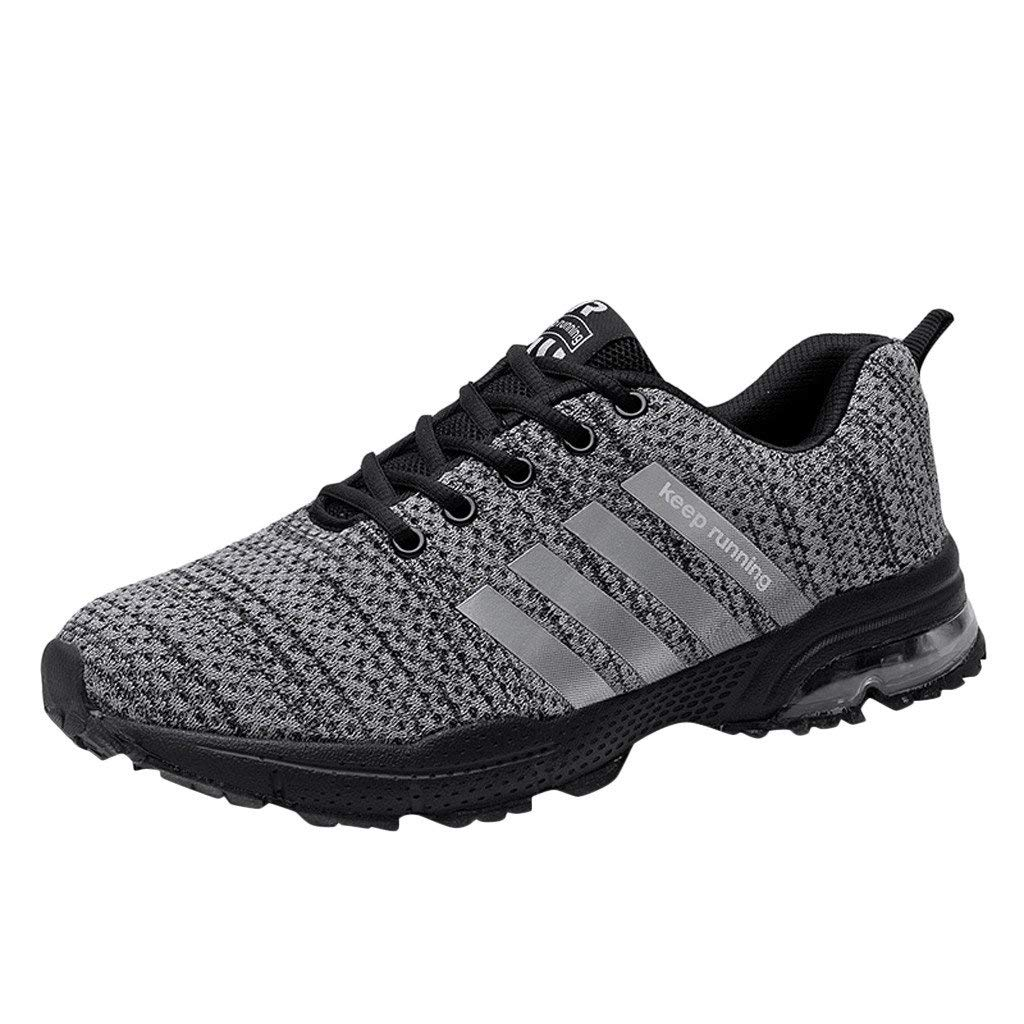 Lloopyting Unisex Mesh Breathable Fashion Sneakers Running Walking Fitness Jogging Cross Training Gym Shoes Soft Tennis Shoes Gray