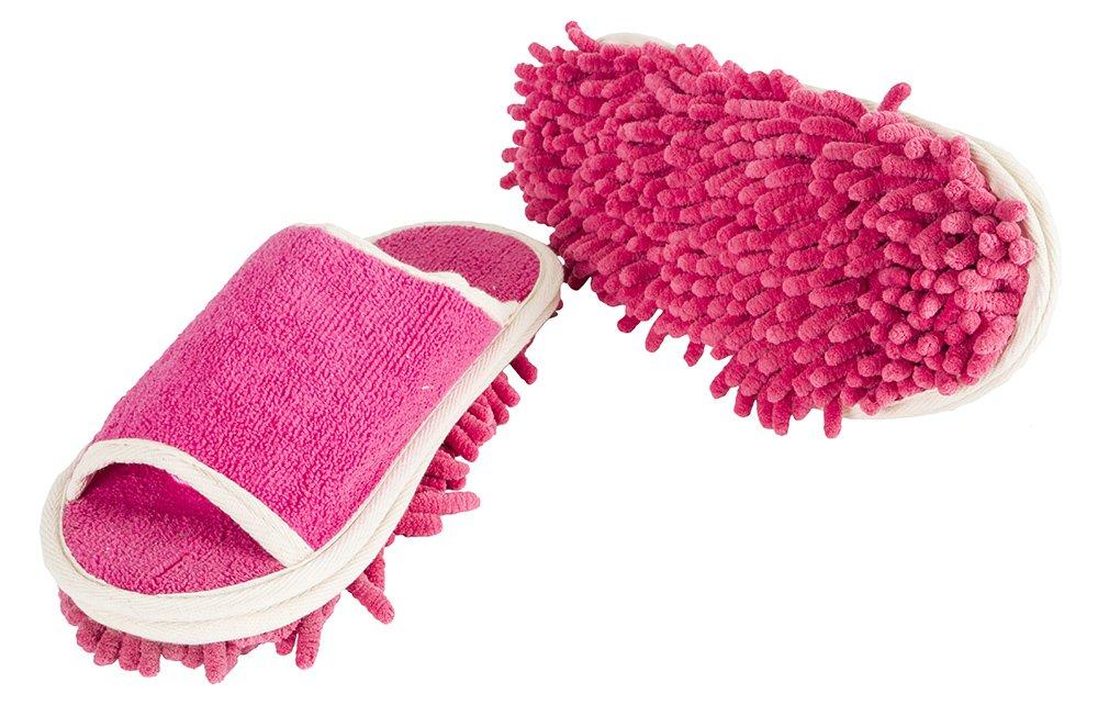 Pink microfiber floor cleaning slippers