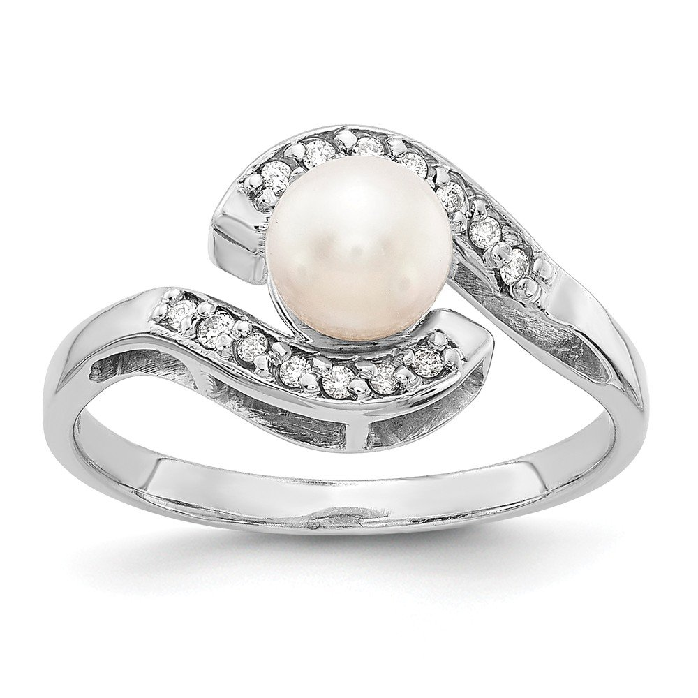 14k White Gold 5.5mm Pearl /& Diamond Ring Mounting Size 6 Length Width 2
