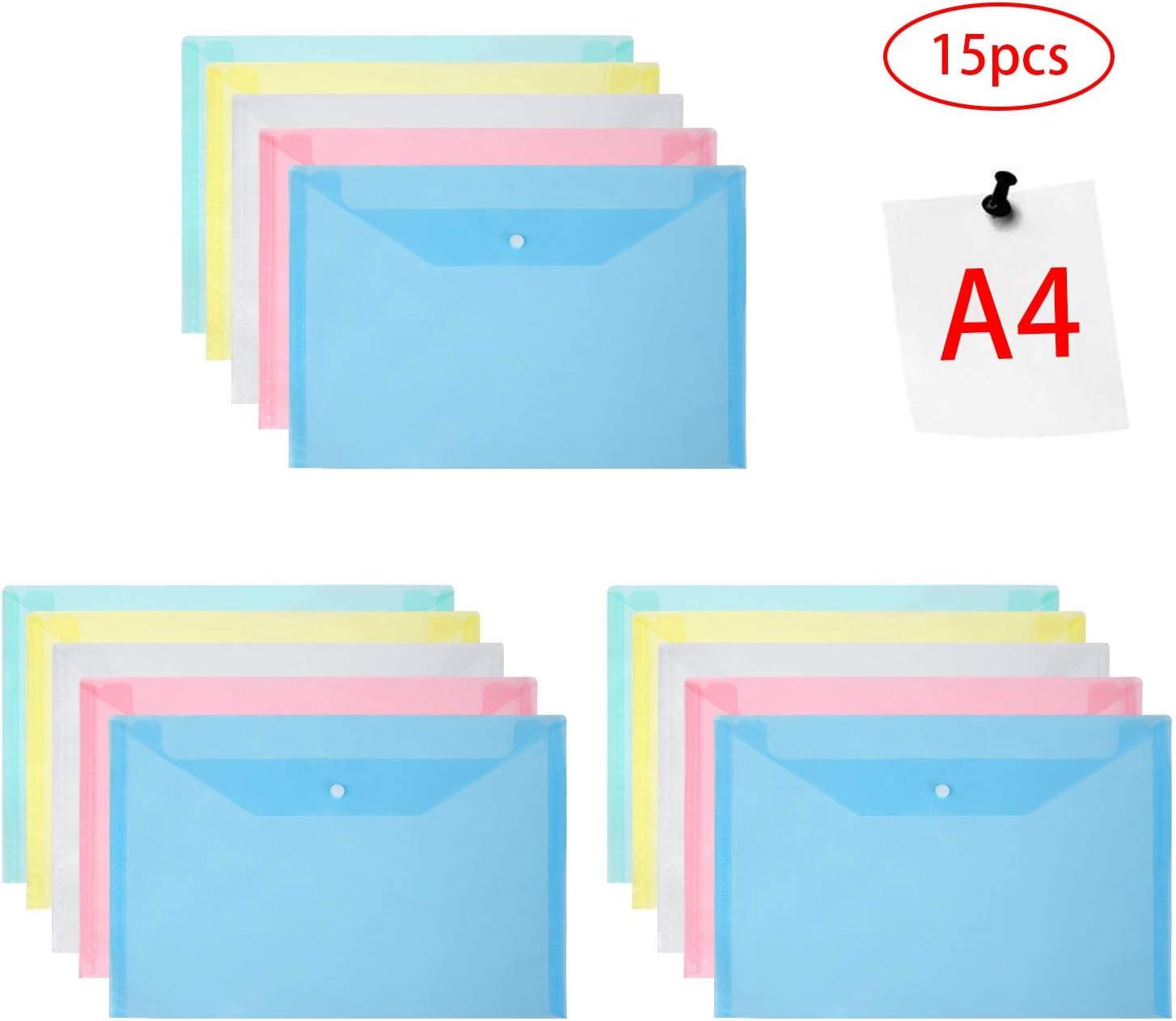 Vicloon Carpetas Para Archivo, 15Pcs Carpetas de Plástico A4 Bolsas de Documentos con Botón para Documentos, Certificados, Recibos, Oficina y Escolar, 5 Colores