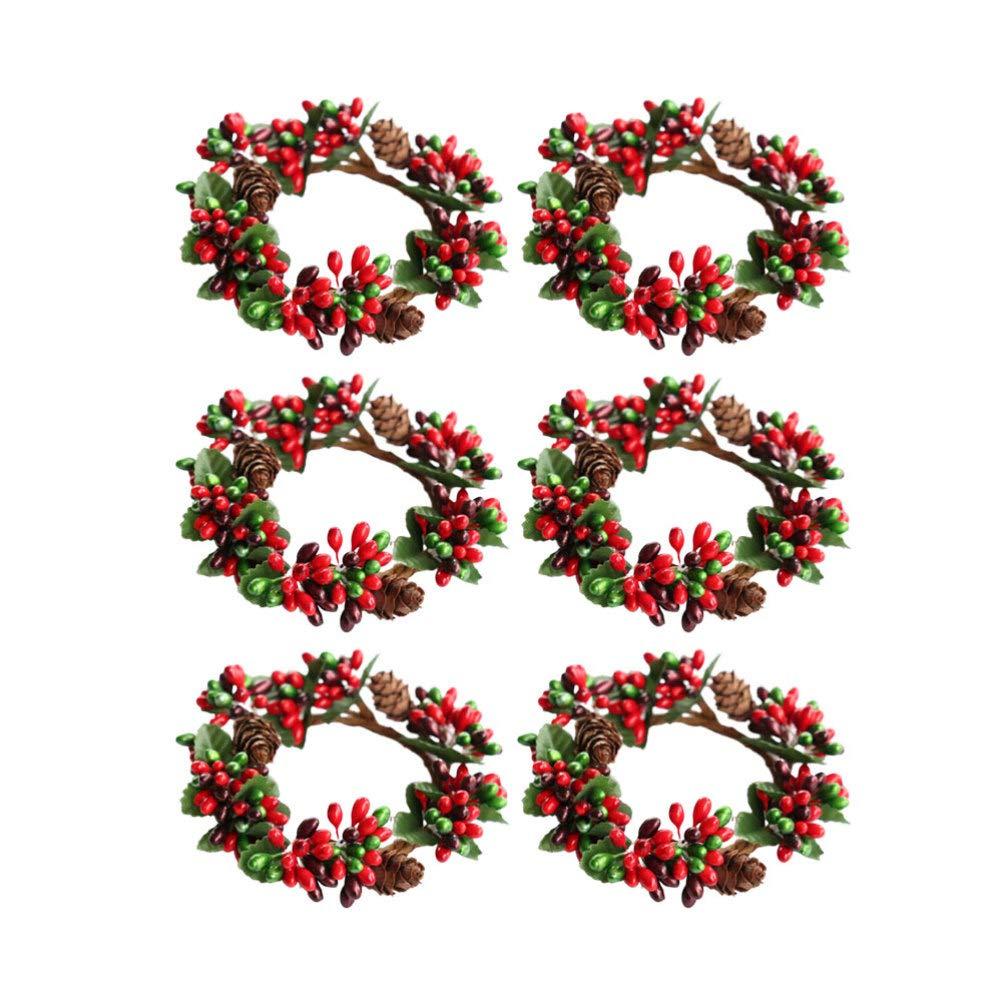 Holibanna 6 piezas guirnalda de bayas de acebo corona de hojas de pi/ña artificial peque/ña decoraci/ón navide/ña de vacaciones aproximadamente 7 cm