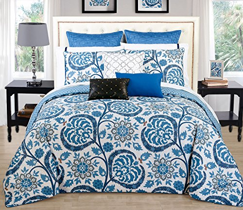 Delight Collection 200 Thread Count 100% Natural Pure Cotton Reversible 3 Pieces Duvet Cover Set, Queen Size, Blue Floral Design