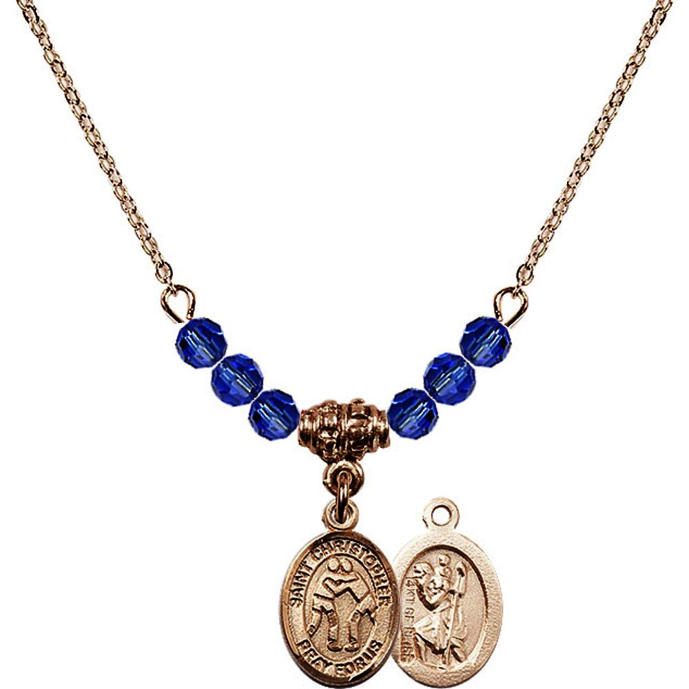 18-Inch Hamilton Gold Plated Necklace with 4mm Blue September Birth Month Stone Beads and Saint Christopher/Wrestling Charm