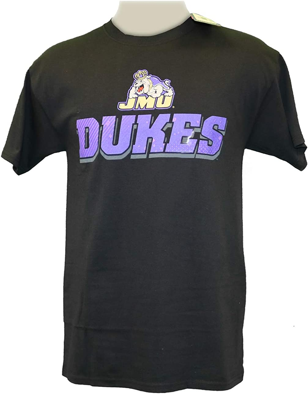 Black RussellApparel NCAA James Madison University Mens 1908 Dukes Cotton Crew Neck Tee
