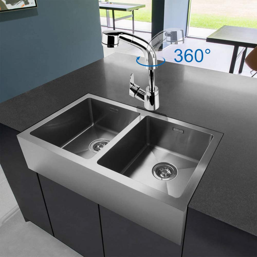 Compatible with UK Standard Fittings TANBURO Kitchen Tap Pull Out Mixer Tap for Kitchen Sink 360/° Retractable Bathroom Tap Single Level Faucet