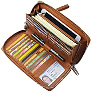 Women RFID Blocking Wallet Leather Zip Around Clutch Large Travel Purse Wrist Strap