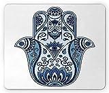 Ambesonne Hamsa Mouse Pad, Mystical Ancient Civilizations Culture Protective Power Luck Evil Eye, Standard Size Rectangle Non-Slip Rubber Mousepad, Pale Blue Indigo Baby Blue