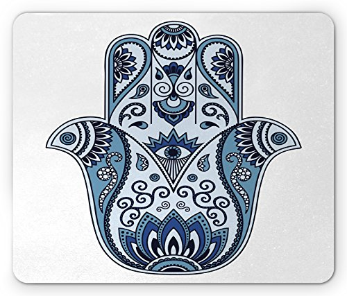 Ambesonne Hamsa Mouse Pad, Mystical Ancient Civilizations Culture Protective Power Luck Evil Eye, Standard Size Rectangle Non-Slip Rubber Mousepad, Pale Blue Indigo Baby Blue by Ambesonne (Image #1)