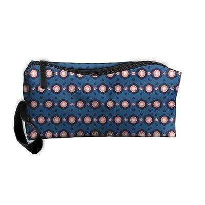 Portable Durable Waterproof Scandinavian Rounded Flowers Blue Wallpaper Travel Wash Bag Pencil Bag Cosmetic Bag