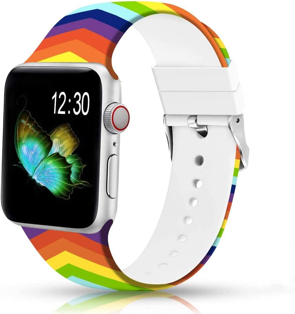 Sunnywoo Floral Bands Compatible with Apple Watch Band 38mm 40mm, Soft Silicone Fadeless Pattern Printed Replacement Sport Bands for iWacth Series 6 5 4 3 2 1, S/M M/L for Women/Men