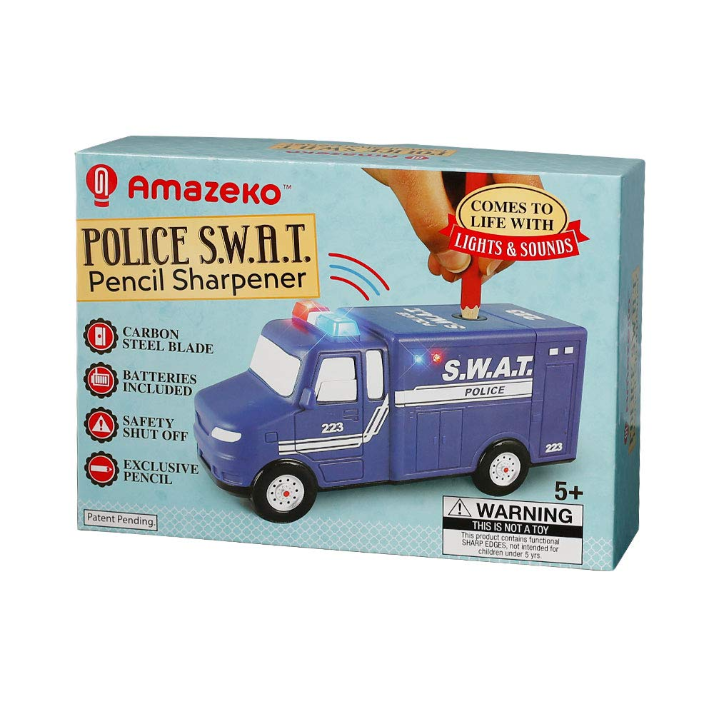 Amazeko Electric Pencil Sharpener with Police Lights and Sounds for Kids. Includes Carbon Steel, Batteries, Electronic Sharpener, Pencil. Perfect for Back To School, Birthdays, Holidays and SWAT Fans by Amazeko (Image #3)