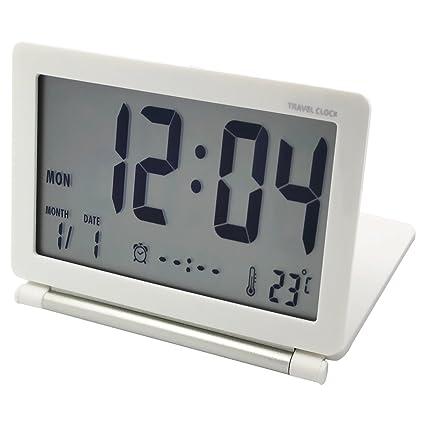 EASEHOME Reloj Despertador Digital de Viaje, Portátil Relojes Despertadores Digitales Repetición Snooze Reloj Alarma Silencioso
