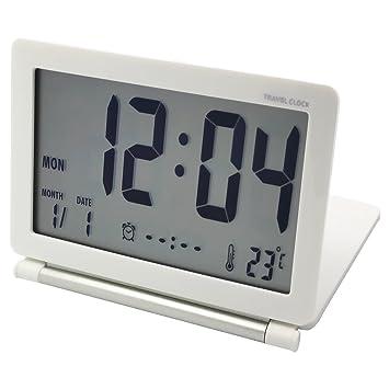EASEHOME Reloj Despertador Digital de Viaje, Portátil Relojes Despertadores Digitales Repetición Snooze Reloj Alarma Silencioso con Temperatura Calendario ...