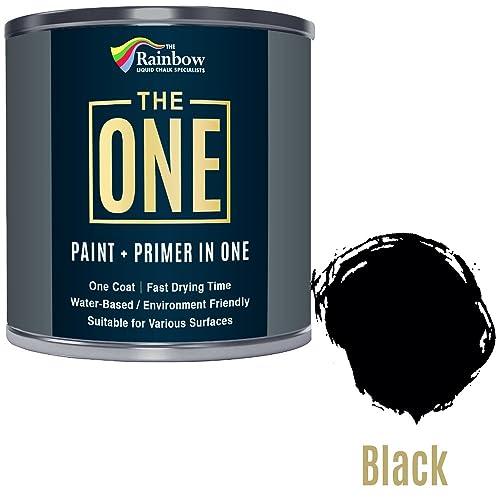 Peinture One Paint multi-surfaces pour bois, métal, plastique, intérieur, extérieur, noir, satiné, 250ml
